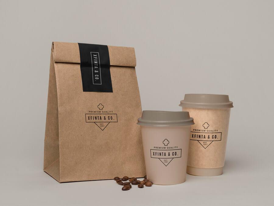 buste e scatole packging personalizzato da asporto per cibi e bevande